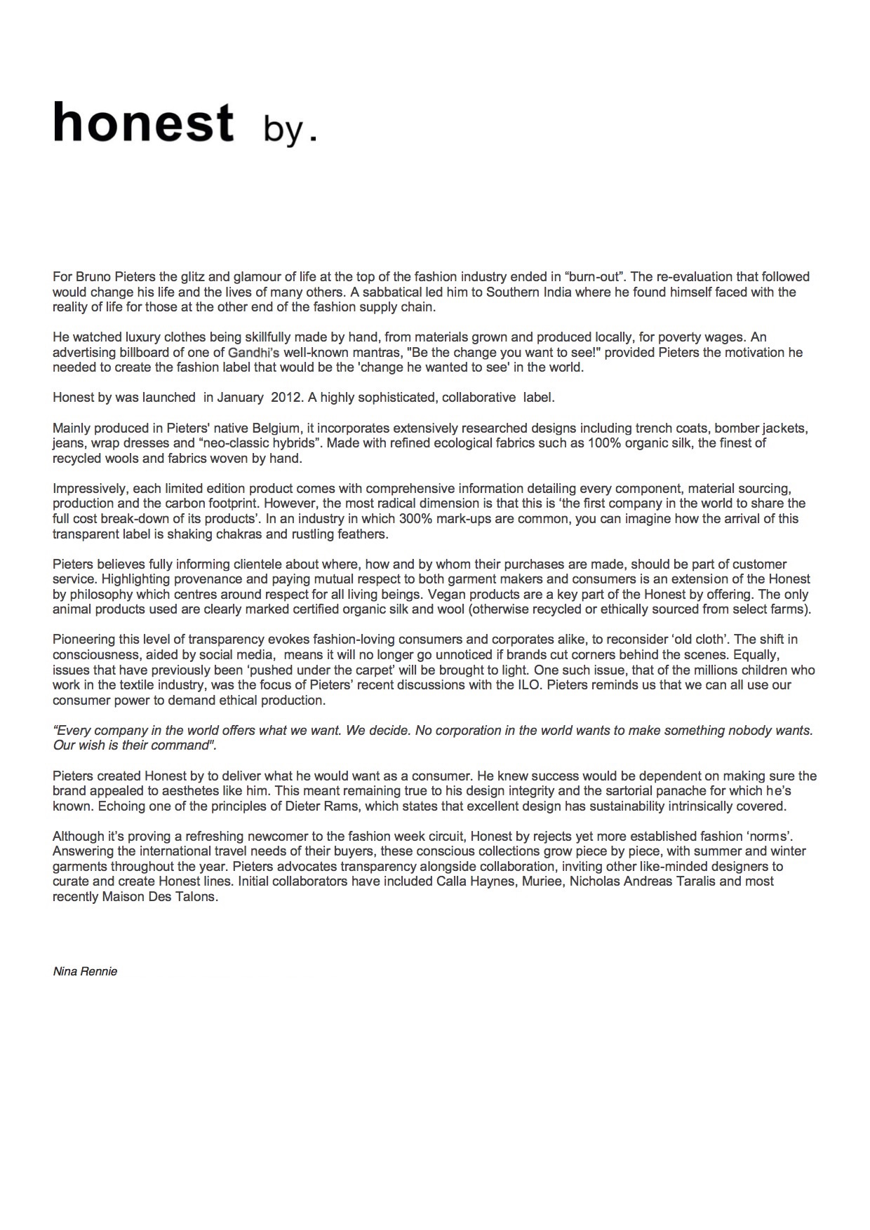 Honest by LFW A/W2012 Press Release